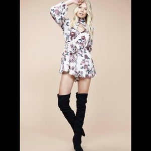 MINKPINK Toulouse Playsuit Floral Pink Long Sleeve